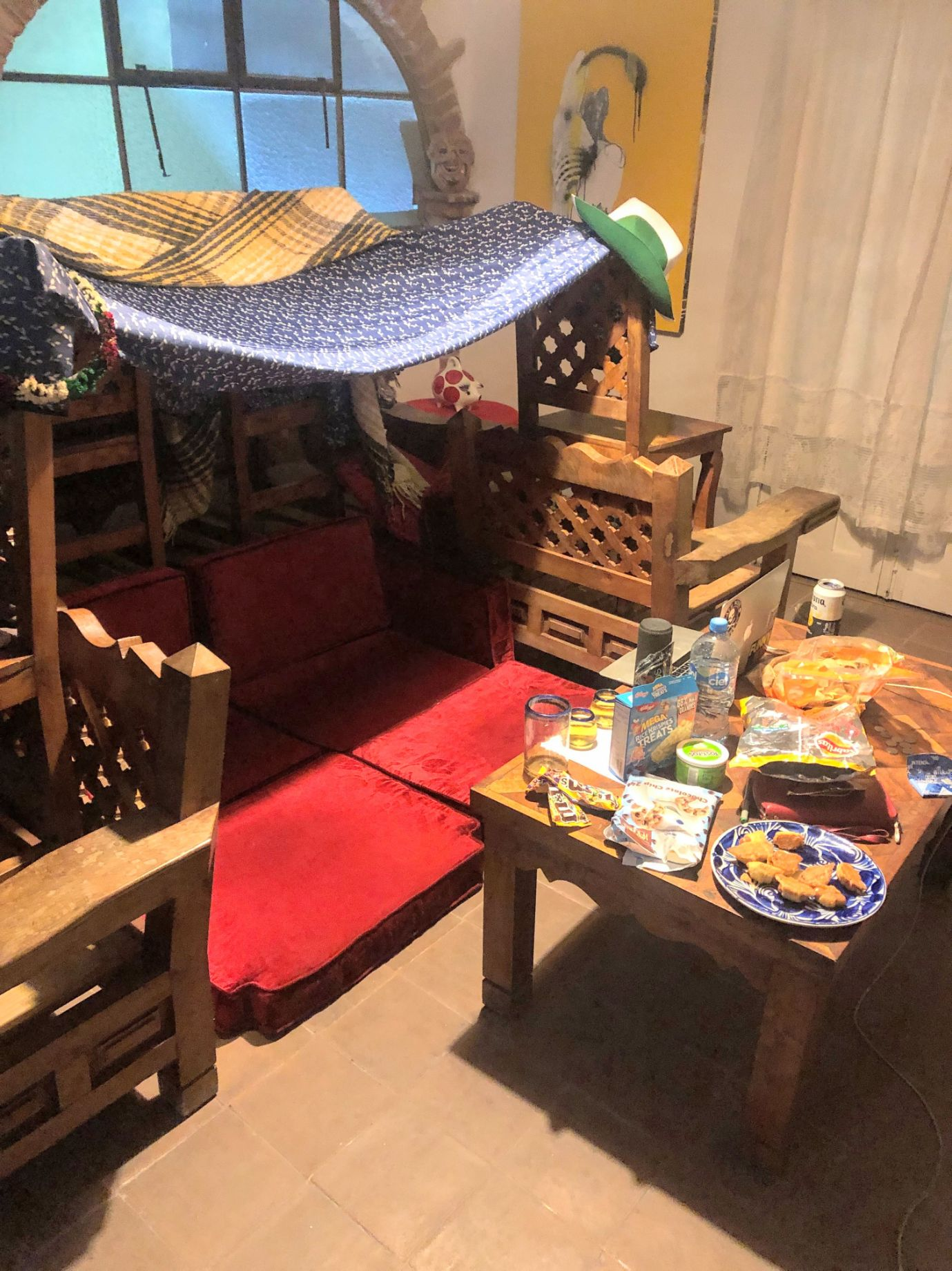 couch fort with snacks in our Airbnb in San Miguel de Allende