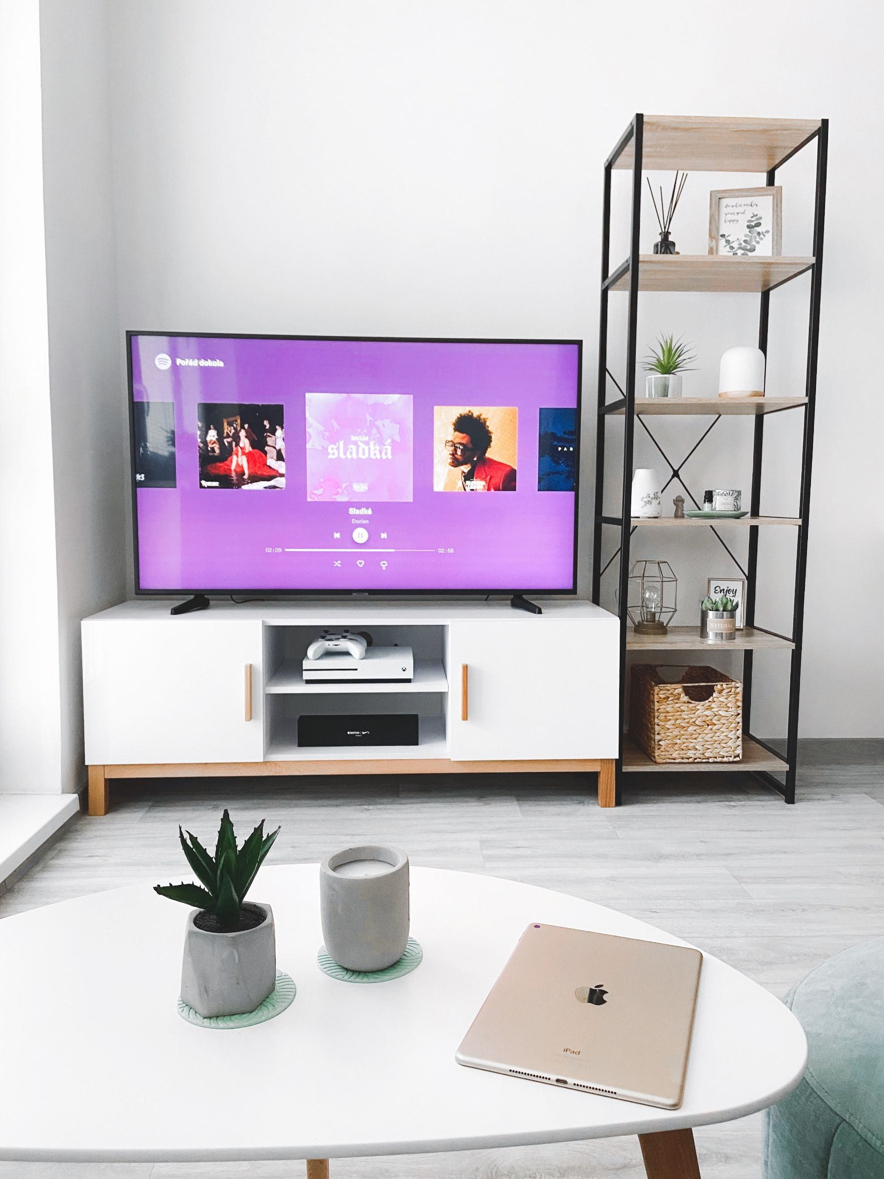 TV with netflix in a living room with modern decor