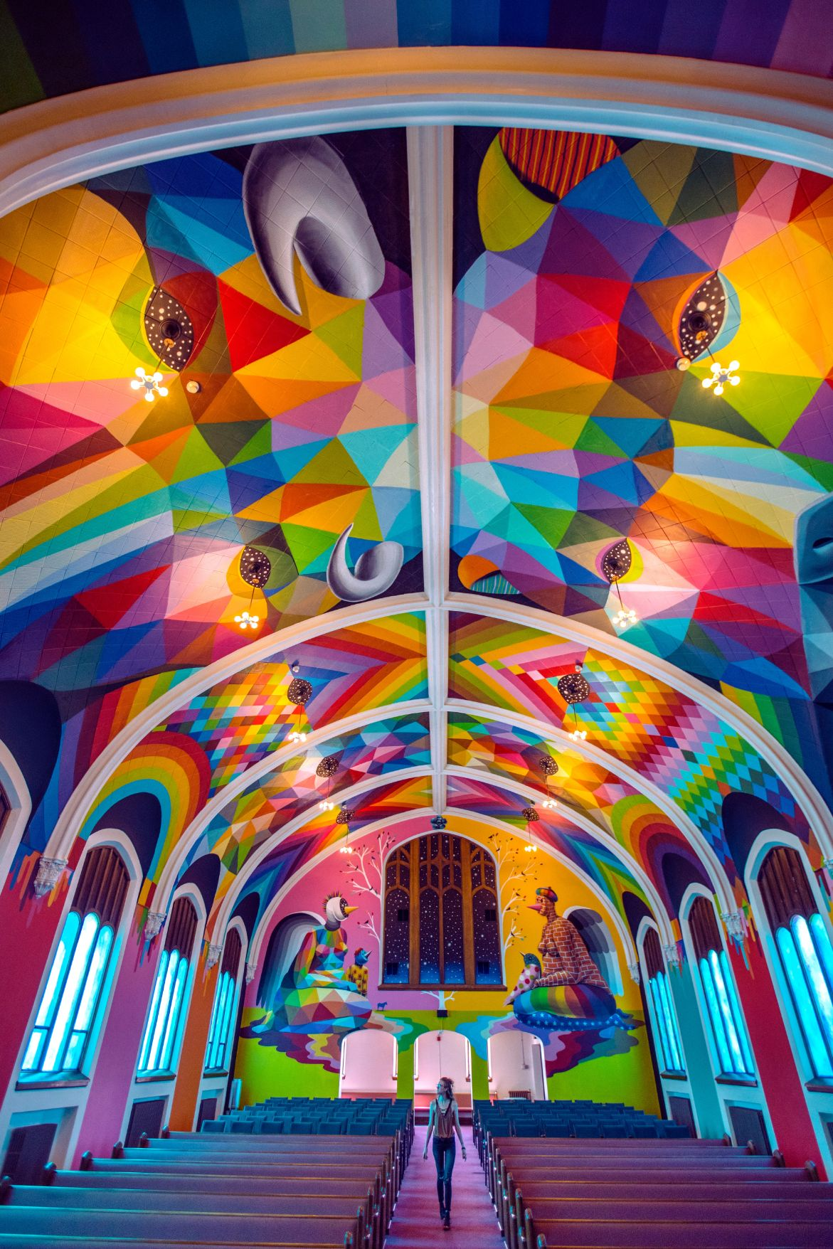 chapel with a colorful mural on the cieling