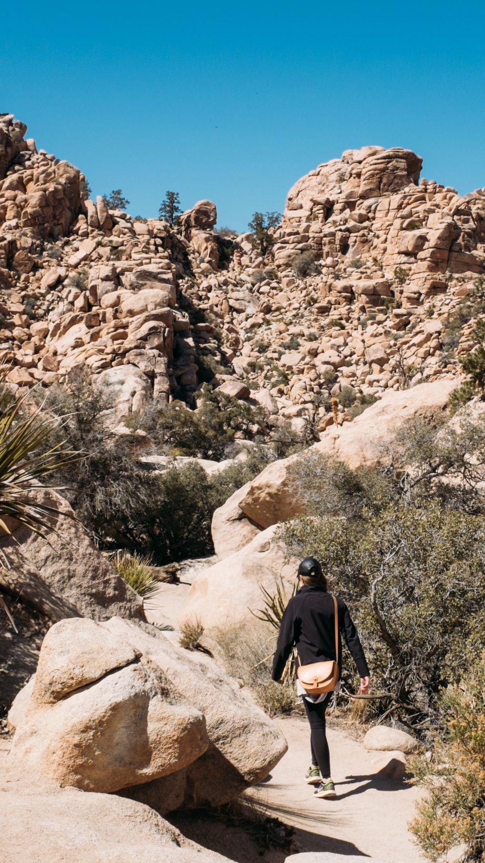 girl hiking in an arid dry canyon