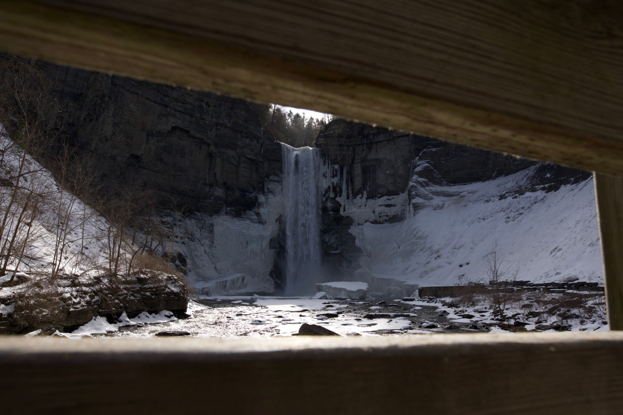 frozen waterfall in Letchworth State Park