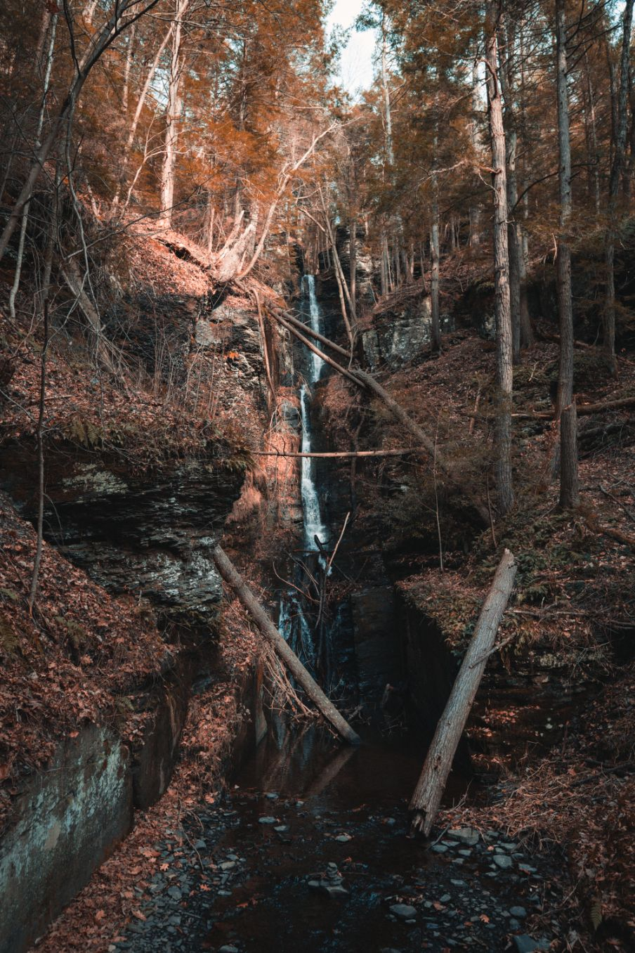 waterfall in autumn in New York state