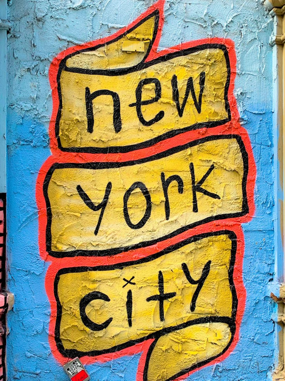 Yellow and blue 'New York City' street art