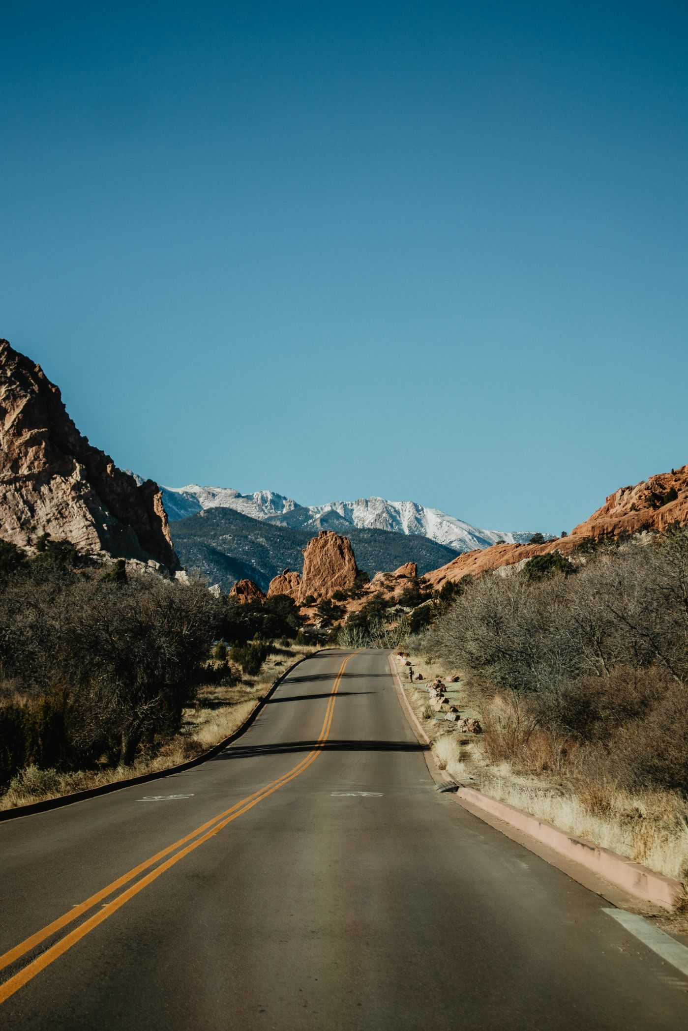 road leading to the red rocks in Garden of the Gods