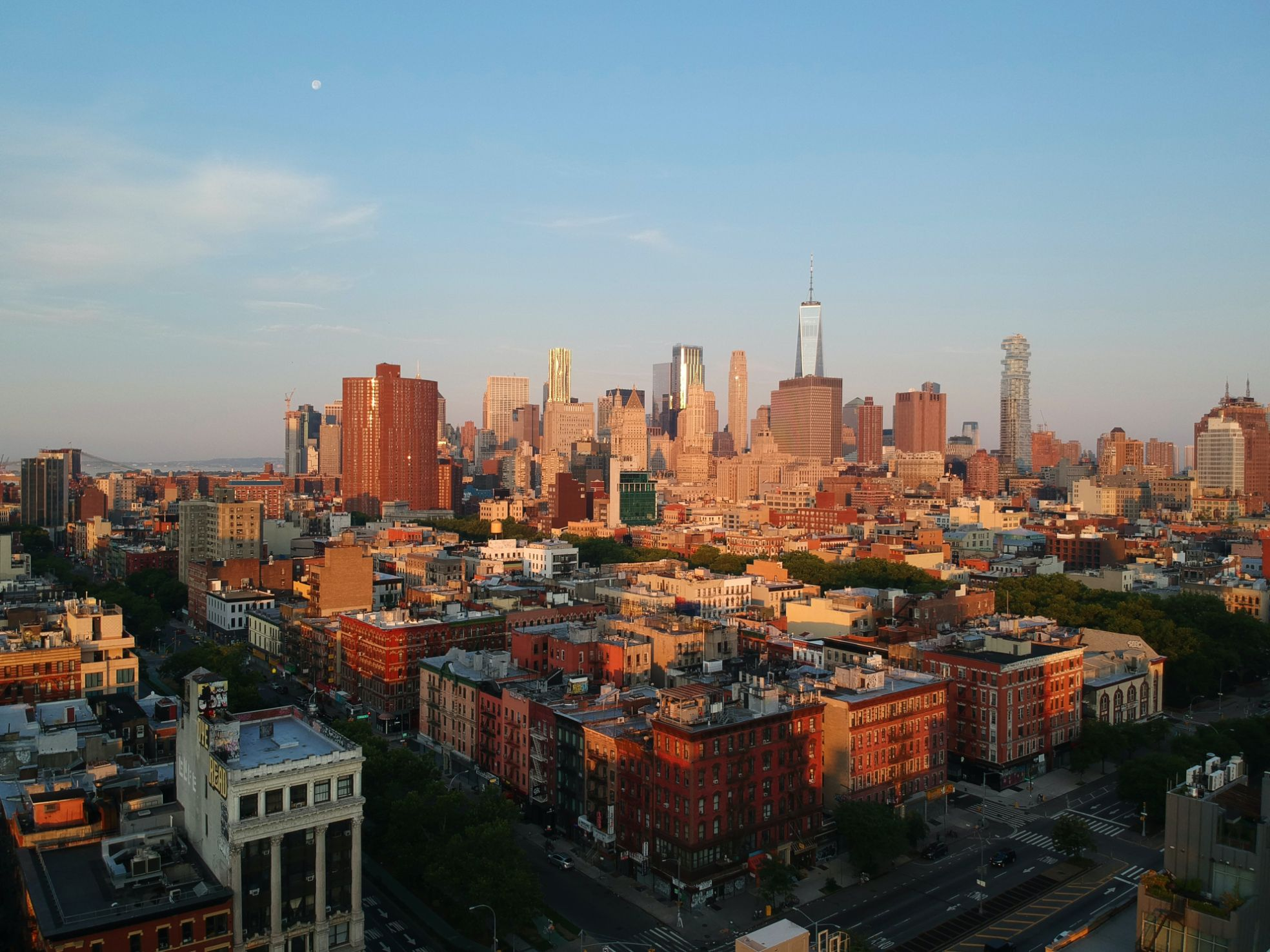 Shot of the NYC skyline in early evening light from the Lower East Side