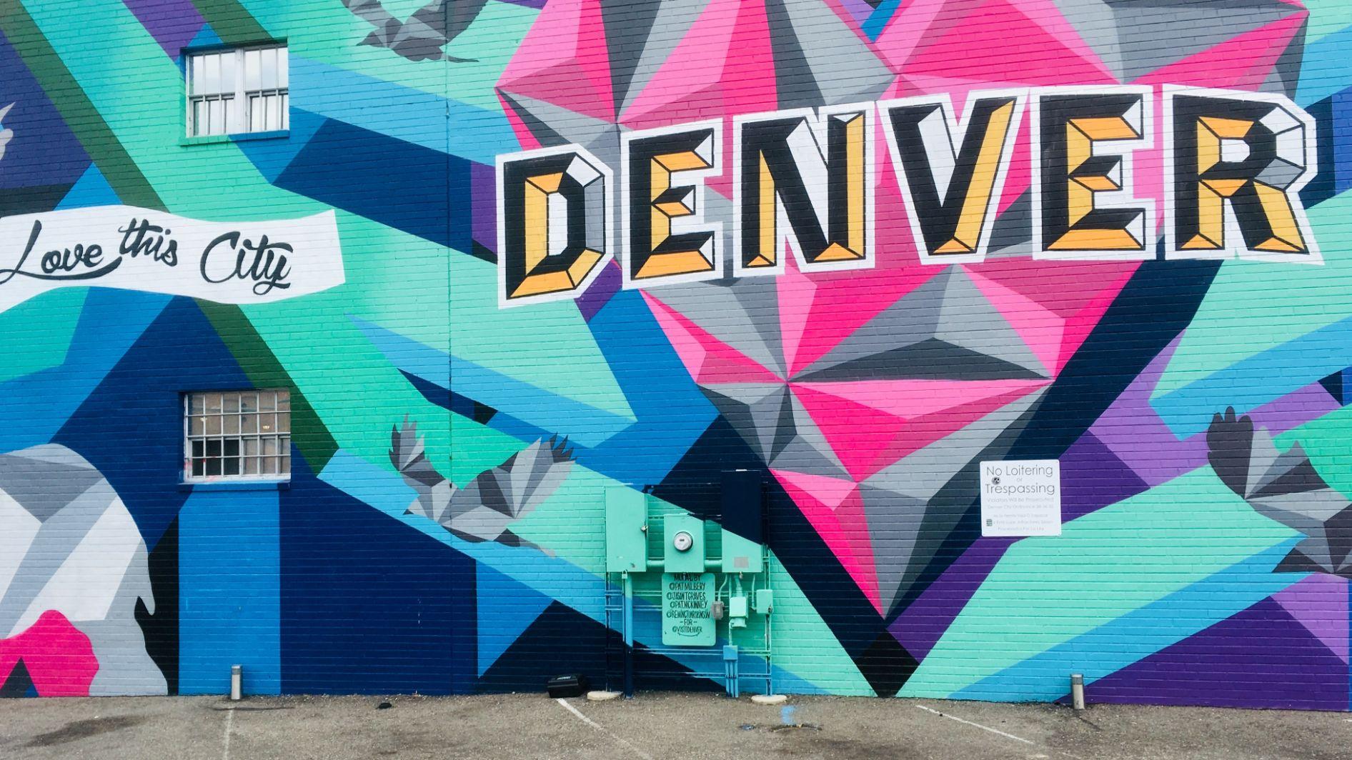 Colorful 'Denver' sign street art