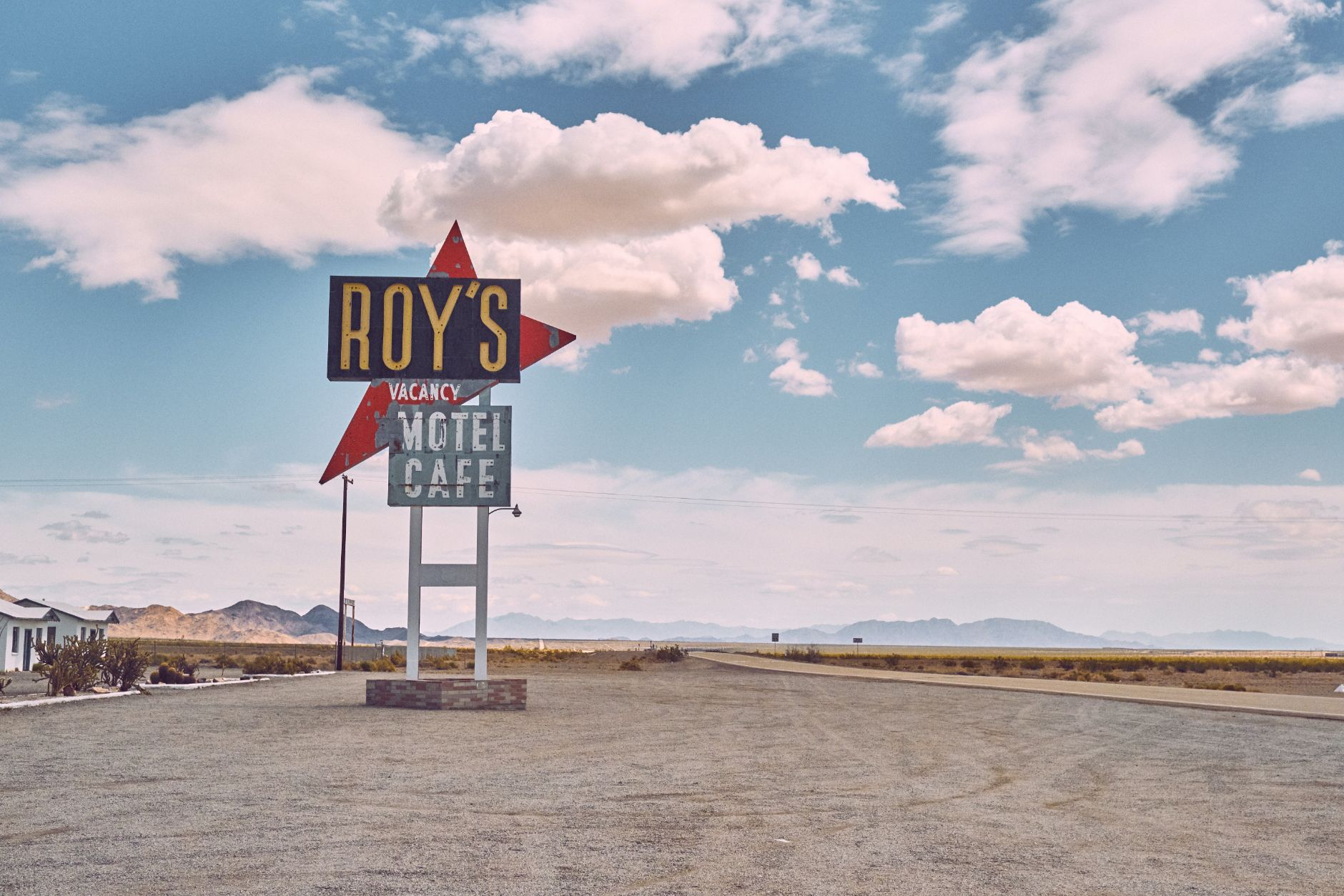 old cafe sign in the Nevada desert