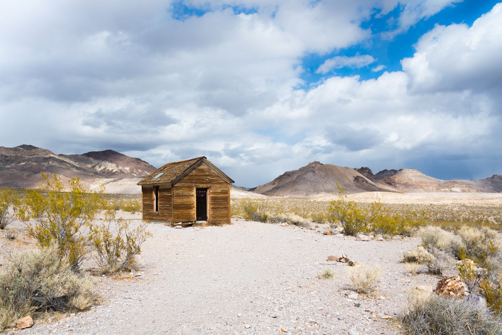 abandoned cabin in the Rhyolite ghost town in the Nevada desert