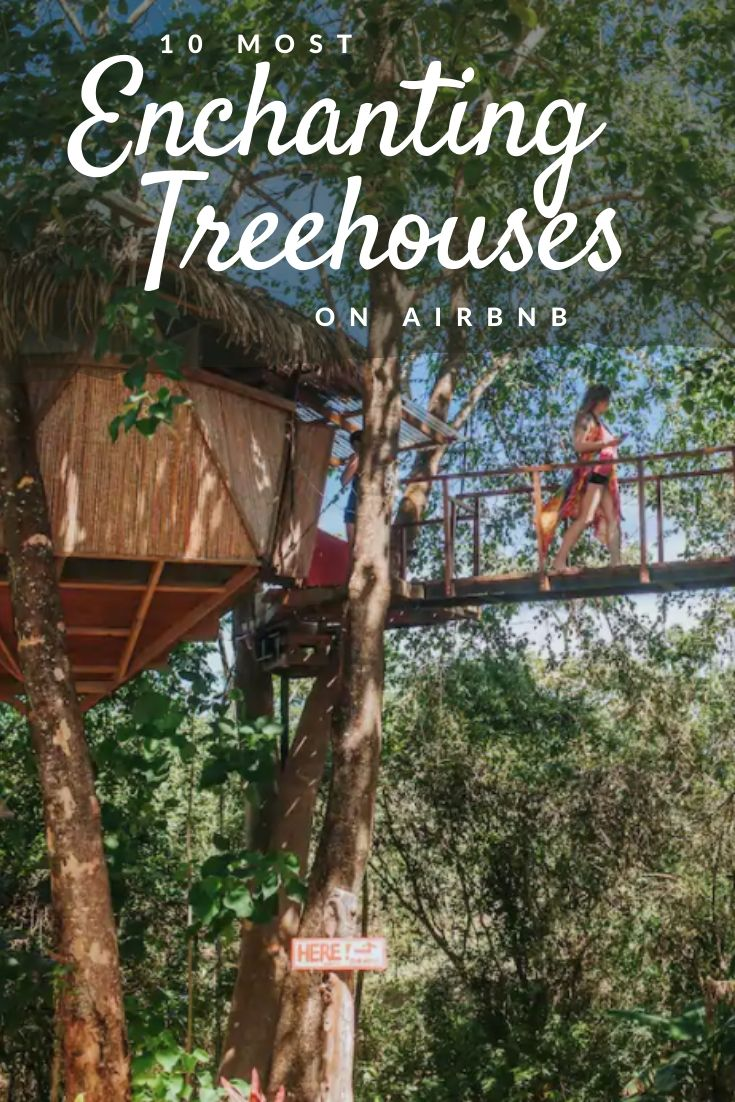 10 most enchanting treehouses on Airbnb pinterest pin