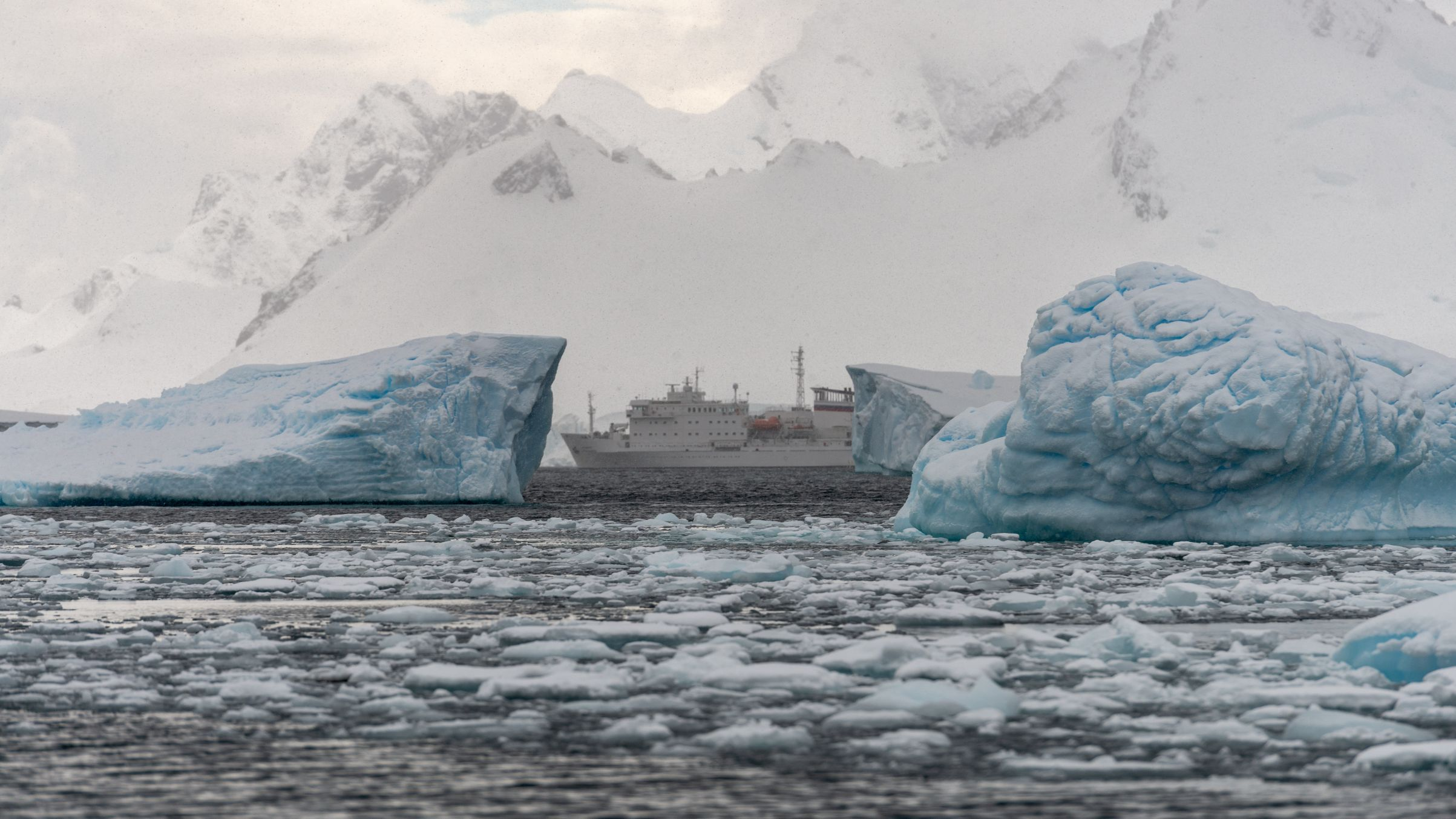 cruise ship in the waters off Antarctica