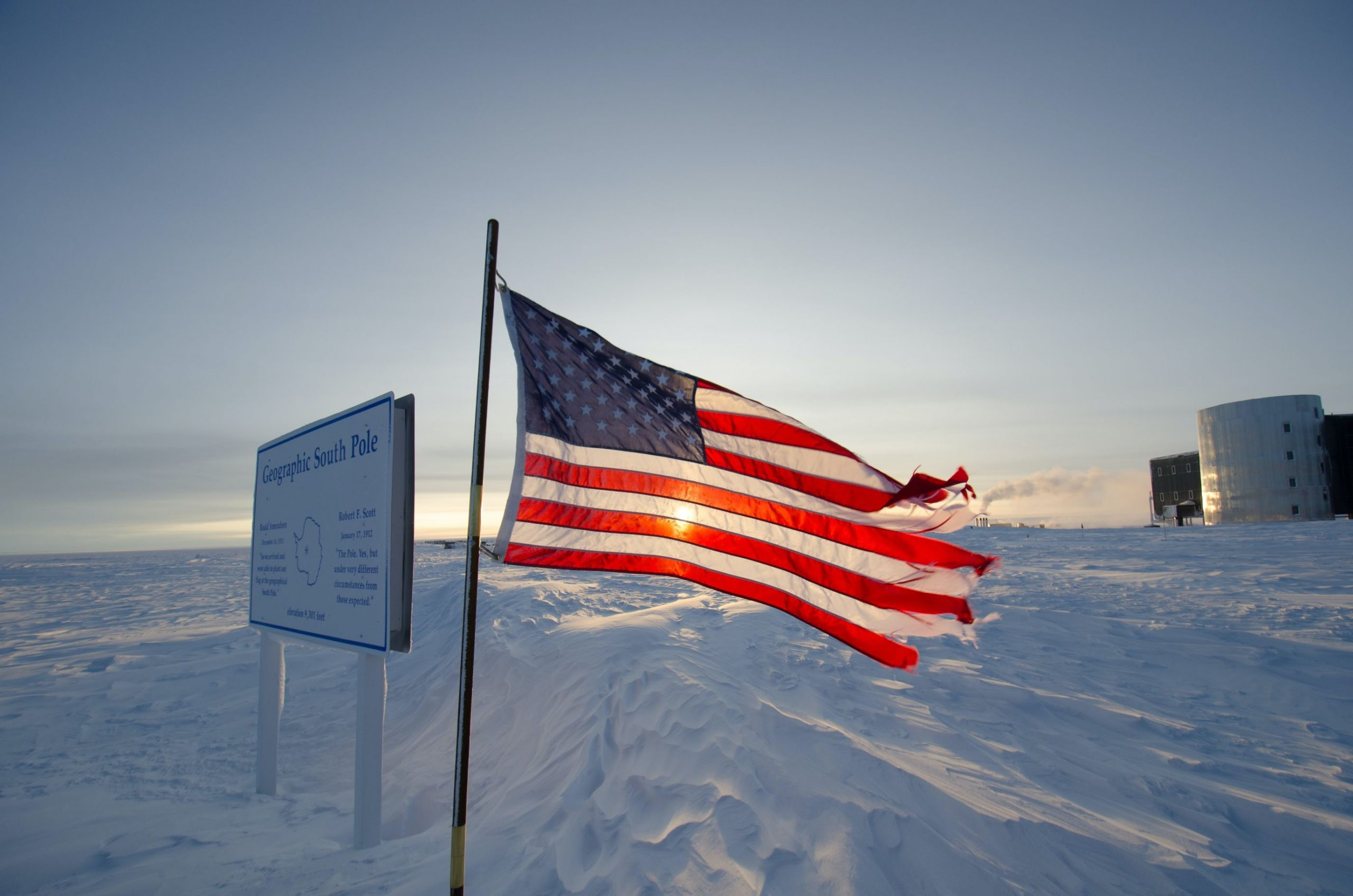 American flag flying at the South Pole station in Antarctica