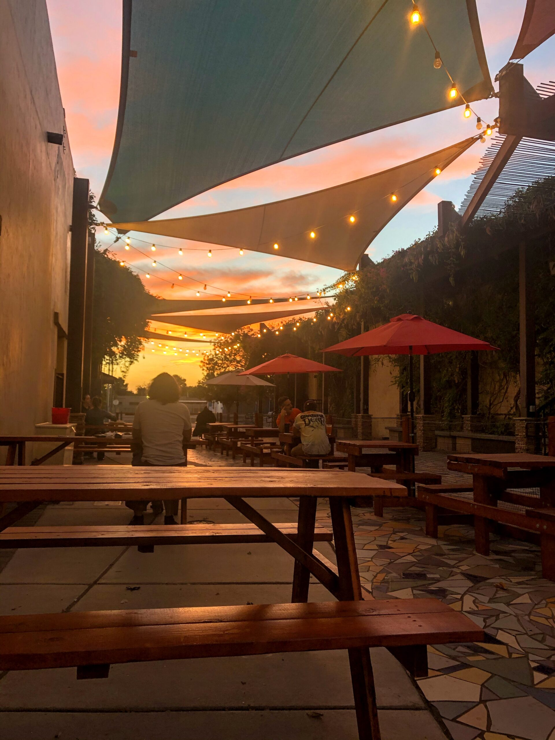 sunset on the patio at Icebox's Boneyard Cantina location in downtown Las Cruces